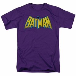 DC Comics t-shirt Classic Batman Logo Distressed mens purple