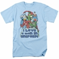 DC Superheros t-shirt I Love A Man In Uniform mens light blue