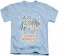 DC Comics Women kids t-shirt Super Powers X3 light blue