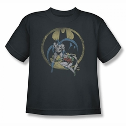 DC Comics youth teen t-shirt Batman and Robin Team charcoal