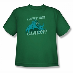 DC Comics youth teen t-shirt Batman Capes are Classy kelly green