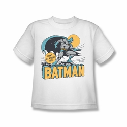 DC Comics youth teen t-shirt Batman I Don't Get a Night Off white