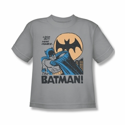 DC Comics youth teen t-shirt Batman Look Out Here Comes silver