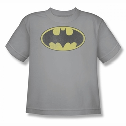 DC Comics youth teen t-shirt Batman Retro Bat Logo Distressed silver