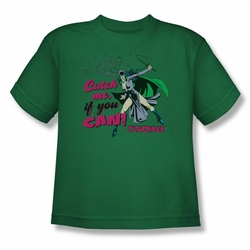 DC Comics youth teen t-shirt Catwoman Catch Me kelly green