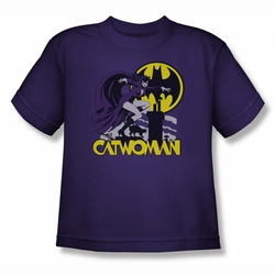 DC Comics youth teen t-shirt Catwoman Rooftop Cat purple