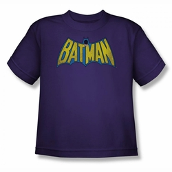 DC Comics youth teen t-shirt Classic Batman Logo Distressed purple