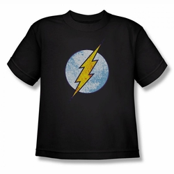 DC Comics youth teen t-shirt Flash Neon Distress Logo black