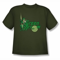 DC Comics youth teen t-shirt Green Arrow military green