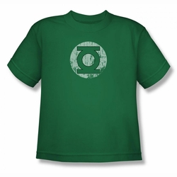 DC Comics youth teen t-shirt Green Lantern Distressed Lantern Logo kelly green