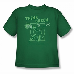 DC Comics youth teen t-shirt Green Lantern Think Green kelly green