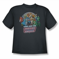 DC Comics youth teen t-shirt Join The Justice League charcoal