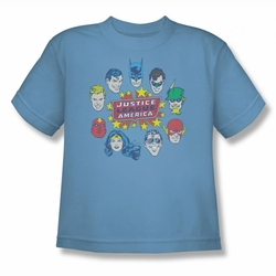 DC Comics youth teen t-shirt Justice Head Circle carolina blue