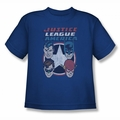 DC Comics youth teen t-shirt Justice League 4 Stars royal