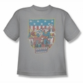 DC Comics youth teen t-shirt Justice League  American Shield silver