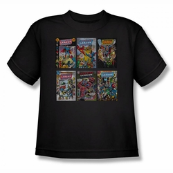 DC Comics youth teen t-shirt Justice League Comics Covers black