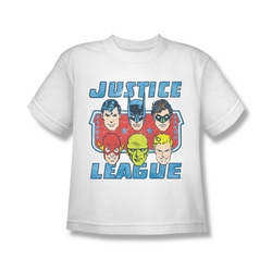 DC Comics youth teen t-shirt Justice League Faces Of Justice white