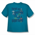 DC Comics youth teen t-shirt Justice League Forget My Boyfriend turquoise