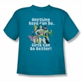 DC Comics youth teen t-shirt Justice League Girls Can Do It Better turquoise