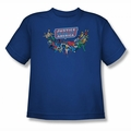 DC Comics youth teen t-shirt Justice League Here They Come royal