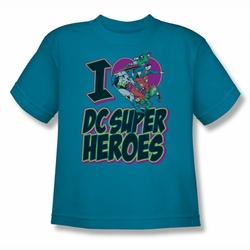 DC Comics youth teen t-shirt Justice League I Heart DC turquoise