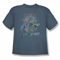 DC Comics youth teen t-shirt Justice League In League slate