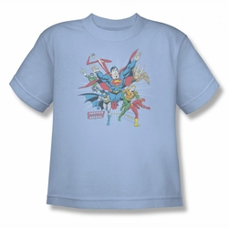 DC Comics youth teen t-shirt Justice League Lead The Charge light blue