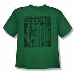 DC Comics youth teen t-shirt Justice League Protecting The Earth kelly green
