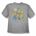 DC Comics youth teen t-shirt Justice League Spin Circle Fight silver