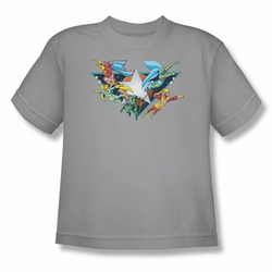DC Comics youth teen t-shirt Justice League Star Power silver