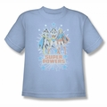 DC Comics youth teen t-shirt Justice League Super Powers X3 light blue