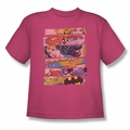 DC Comics youth teen t-shirt Justice League Three Of A Kind hot pink