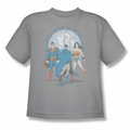 DC Comics youth teen t-shirt Justice League Trinity silver