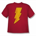 DC Comics youth teen t-shirt Shazam Logo Distressed red