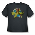 DC Comics youth teen t-shirt Shazam Power Bolt charcoal
