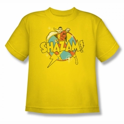 DC Comics youth teen t-shirt Shazam Power Bolt yellow