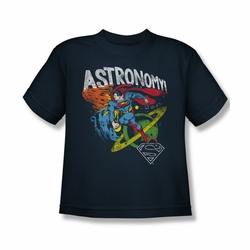 DC Comics youth teen t-shirt Superman Astronomy navy
