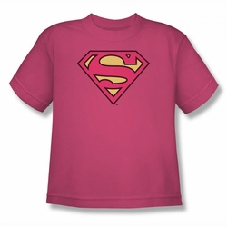 DC Comics youth teen t-shirt Superman Classic Logo hot pink