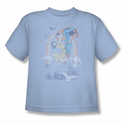 DC Comics youth teen t-shirt Superman Rainbow Love light blue