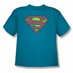 DC Comics youth teen t-shirt Superman Retro Supes Logo Distressed turquoise
