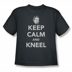 DC Comics youth teen t-shirt Superman Zod Keep Calm And Kneel charcoal