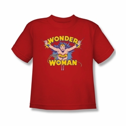 DC Comics youth teen t-shirt Wonder Woman Flying Through red