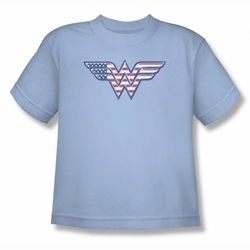 DC Comics youth teen t-shirt Wonder Woman Red,White & Blue light blue