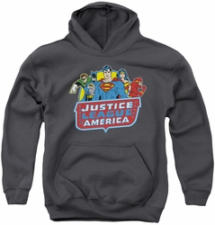 DC Comics youth teen hoodie 8 Bit League charcoal