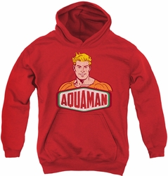 DC Comics youth teen hoodie Aquaman Sign red