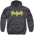 DC Comics youth teen hoodie Batgirl Logo Distressed charcoal