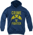DC Comics youth teen hoodie Batman Fight Crime navy