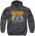 DC Comics youth teen hoodie Batman Foggy charcoal