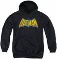 DC Comics youth teen hoodie Batman Neon Distress Logo black
