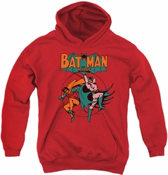 DC Comics youth teen hoodie Batman & Robin Starling Shock red